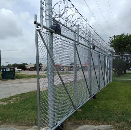 chain fence installed on the grass